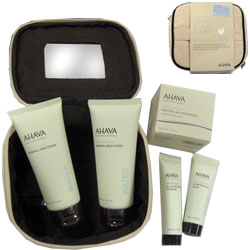 Ahava Care Kit: Body Lotion, Hand Cream,  Day Moisturizer and All in OneToning Cleanser