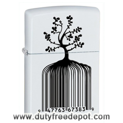 Zippo 28296  Identity Tree Barcode White Matte Windproof Lighter