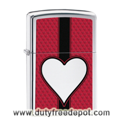 Zippo  28466 Heart Pocket Lighter  High Polish Chrome