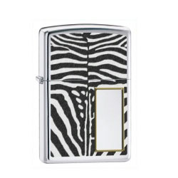 Zippo Zebra Print Polished Chrome Lighter (model: 28046)