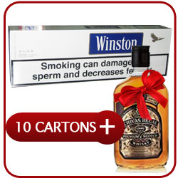 10 Cartons of Winston King Size Blue  Box Cigarettes + Chivas Regal 12 Y.O. Whiskey 500 ml