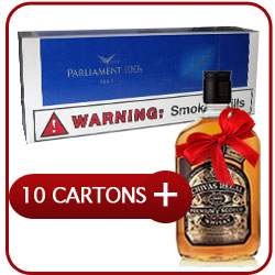 10 Cartons of Parliament  Blue 100 + Chivas Regal 12 Y.O. Whisky 50CL