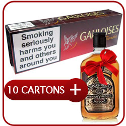 10 Cartons of Gauloises Blondes Red + Chivas Regal 12 Y.O. Whiskey 500 ml