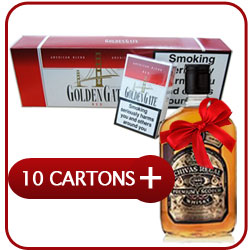 10 Cartons of Golden Gate  + Chivas Regal 12 Y.O. Whiskey 500 ml