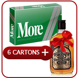 6 Cartons of More International 120s Menthol + Chivas Regal 12 Y.O. Whisky 50CL