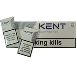 10 Cartons of Kent Silver Neo 100`s Charcoal Triple Filter Cigarettes