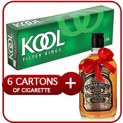 6 Cartons of Kool Menthol + Chivas Regal Whiskey 500 ml