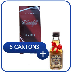 6 Cartons of Davidoff Classic Slims Cigarettes + Miniature Chivas Regal 12 Y.O. Whiskey 50 ml.