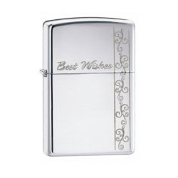 Zippo Best Wishes Polished Chrome Lighter (model: 24877)