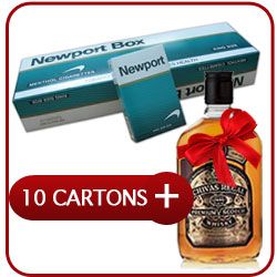 10 Cartons Of Newport  cigarettes + Chivas Regal 12 Y.O. Whiskey 500 ml