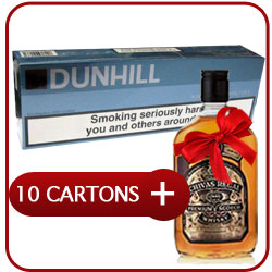 10 Cartons of Dunhill King Size Button Blue+ Chivas Regal 12 Y.O. Whisky  50CL
