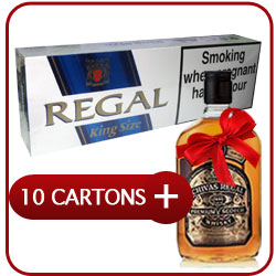 10 Cartons Of Regal King Size + Chivas Regal 12 Y.O. Whiskey 500 ml