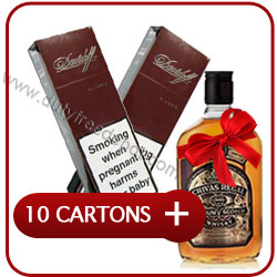 10 Cartons of Davidoff Classic Cigarette + Chivas Regal 12 Y.O. Whisky 500 ml