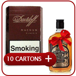 10 Cartons of Davidoff Magnum Classic Cigarettes + Chivas Regal 12 Y.O. Whiskey 500 ml