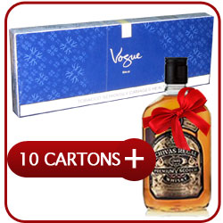 10 Cartons of Vogue Blue Super Slim + Chivas Regal 12 Y.O. Whiskey 500 ml