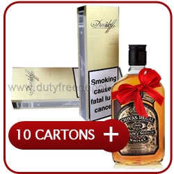 10 Cartons of Davidoff Gold Cigarette+ Chivas Regal 12 Y.O. Whisky  50CL