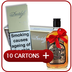 10 Cartons of Davidoff Gold Slims Cigarette + Chivas Regal 12 Y.O. Whiskey 500 ml