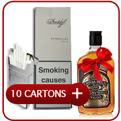 10 Cartons of Davidoff Superslims White + Chivas Regal 12 Y.O. Whiskey 500 ml