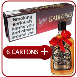 6 Cartons of Gauloises Blondes Red + Chivas Regal 12 Y.O. Whiskey 500 ml
