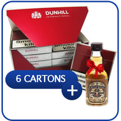 6 Cartons of Dunhill International Cigarettes + Miniature Chivas Regal 12 Y.O. Whiskey 50 ml.
