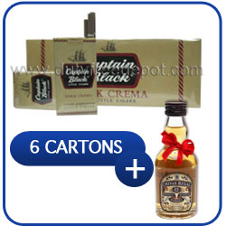 6 Cartons of Captain Black Dark Crema (6 x 200 Little Cigars) + Miniature Chivas Regal 12 Y.O. Whisk